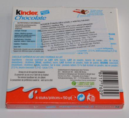 zloženie Ferrero Kinder čokoláda